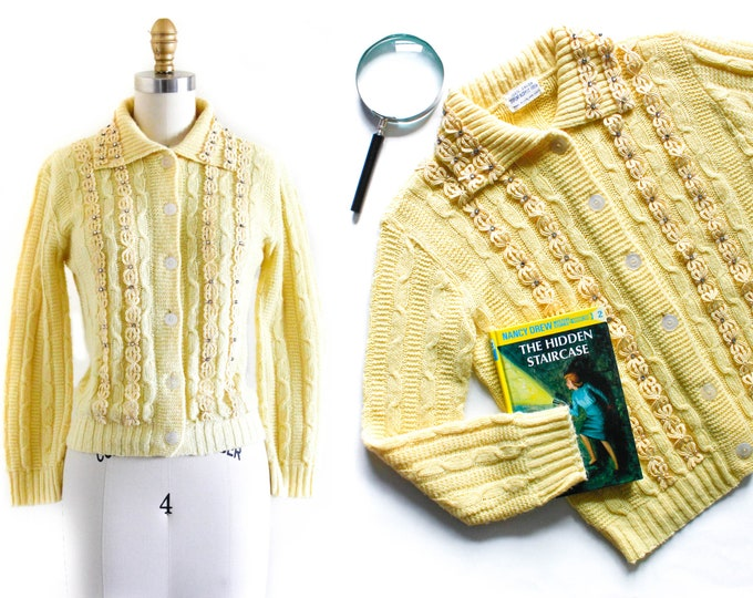 Featured listing image: 1960s yellow cardigan // Forsythia Bloom vintage cable knit 60s collared cardigan sweater . md