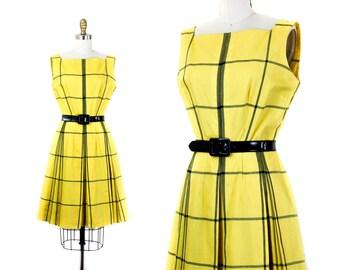 1960s plaid dress // Clueless yellow vintage windowpane plaid 60s dress . sm / md