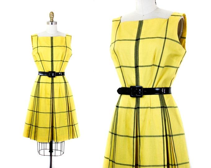 Featured listing image: 1960s plaid dress // Clueless yellow vintage windowpane plaid 60s dress . sm / md
