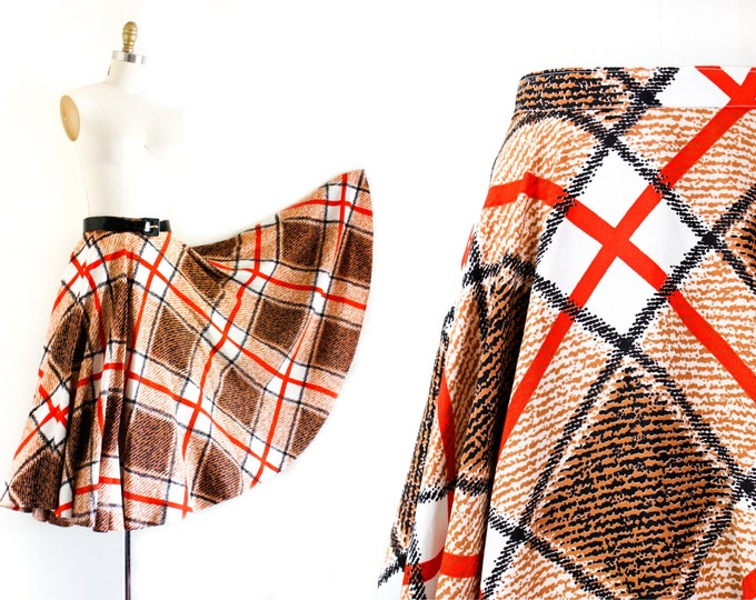 Featured listing image: 1960s plaid circle skirt // Harvest Dance vintage autumnal plaid 50s / 60s circle skirt sm