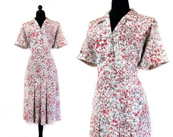 1950s dress // Sweetheart vintage pink frond print 40s / 50s volup vintage dress XL