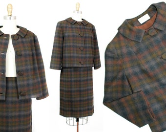 1960s Pendleton skirt suit // Sparrow brown plaid vintage 1960s wool suit . md / medium