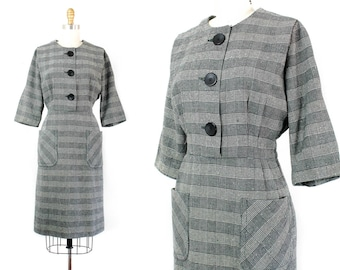 1960s houndstooth dress // All Cats are Grey vintage 60s plaid dress by Korell .  md / lg