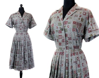 1950s shirtwaist dress // Hearth and Home vintage cotton print 50s / 60s dress . xl / plus size