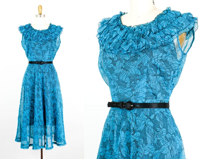 Featured listing image: Vintage 1940s dress .  Loop De Loo  . blue 1940s chiffon dress . Jean DeLane 40s day dress . md / medium