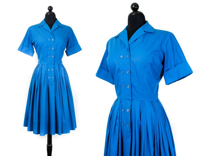 Featured listing image: 1960s blue dress // True Blue vintage 1960s shirtwaist dress by SEARS md / lg