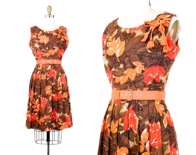Featured listing image: 1950s leaf print dress // Autumn Splendor vintage fall foliage 50s dress by Mode O'Day . small