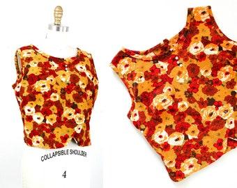 1960s top // Harvest Bloom orange corduroy vintage top // 1960s floral top md / medium