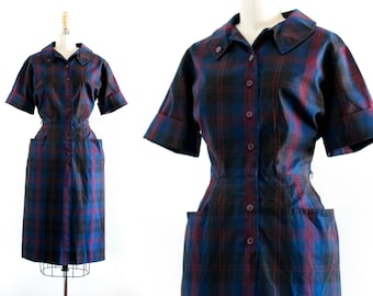Huckleberry Thicket . 1960s blue plaid shirtwaist dress . md