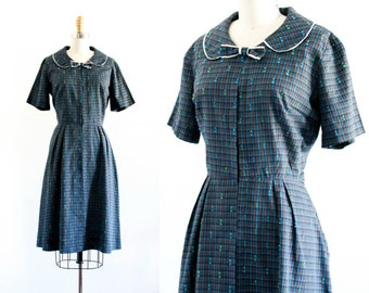 1960s plaid dress //  Home Room vintage blue plaid 60s shirtwaist dress . md / lg