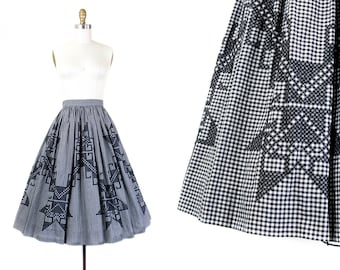 1950s gingham skirt // North Star embroidered black and white checkered 50s skirt