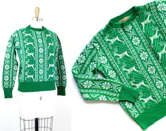 1940s deer sweater // Evergreen vintage 1940s knit sweater with deer pattern by Marinette md
