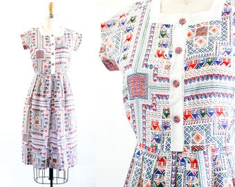 Provincial Life // 1960s folk print shirtwaist dress . small
