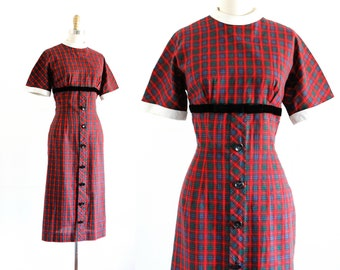 1950s plaid dress // Book Club red plaid vintage 50s wiggle dress . md / lg