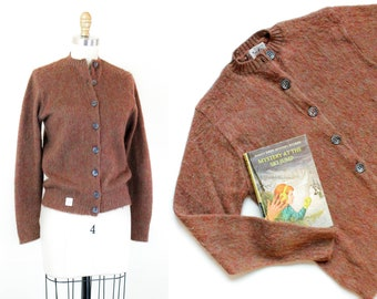 1960s cardigan // faux mohair marled knit vintage 1960s brown sweater md / lg
