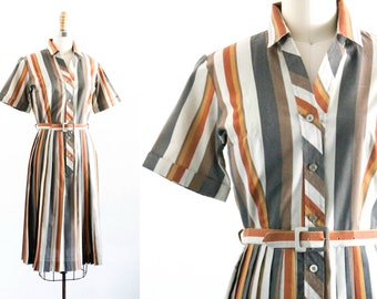 Fig and Maple . 1960s striped shirtwaist dress . small