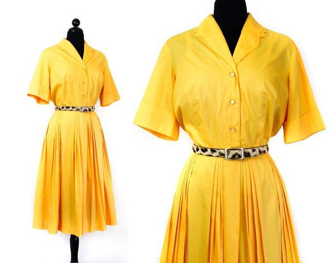 Featured listing image: 1960s shirtwaist dress // Marigold vintage 1960s yellow shirtwaist dress  lg / xl