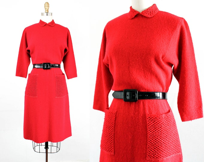 Featured listing image: 1940s knit dress  // Forbidden Fruit raspberry red vintage 40s / 1950s sweater knit dress . md