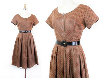 1950s dress // Apple Harvest vintage checkered rayon 50s dress by Robbie Reid . md