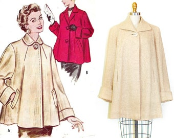 1950s swing coat // Macaroon vintage 1950s tweed cropped wool swing coat md / lg