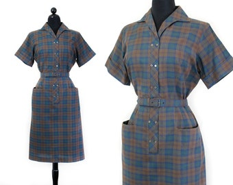 1950s plaid dress // Shadow Forest green and brown vintage 1950s plaid day dress with pockets Md / Lg