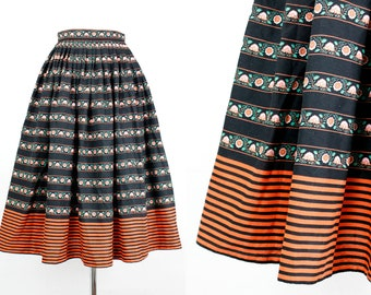 Vintage 1970s skirt // Midsommar orange and black bohemian folk striped skirt . sm / md