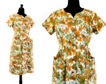 1960s day dress // August Garden abstract print vintage 60s shirtwaist dress by Carol Brent . lg