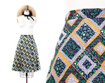 1970s skirt // Grape Arbor ditsy diamond print vintage 70s cotton skirt //  md