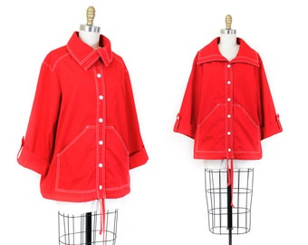 Lighthouse Keeper // 1960s nautical inspired red sailcloth coat md