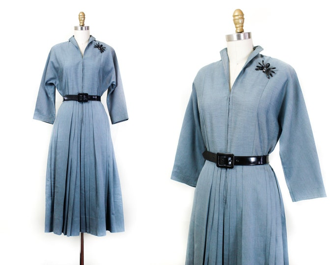Featured listing image: 1950s blue dress // Ice Queen vintage formal 1940s / 50s hostess dress Sm