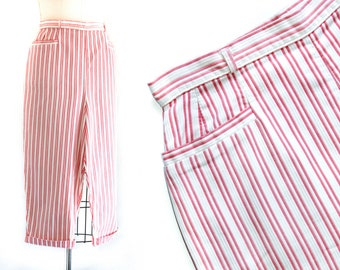 "1950s pants // Saltwater Taffy striped cropped pants by White Stag  . sm / 26"" waist"
