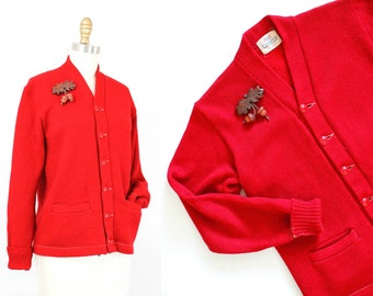 1950s letter sweater // Study Buddy vintage 50s red wool knit varsity cardigan md /lg