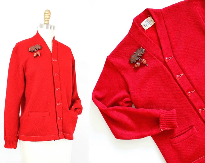 Featured listing image: 1950s letter sweater // Study Buddy vintage 50s red wool knit varsity cardigan md /lg