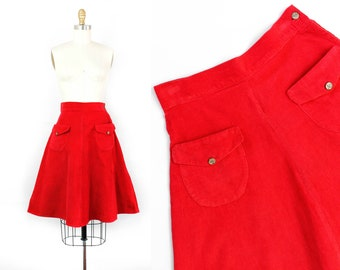 1940s red skirt // Red Pepper vintage 40s corduroy skirt with pockets . sm /small