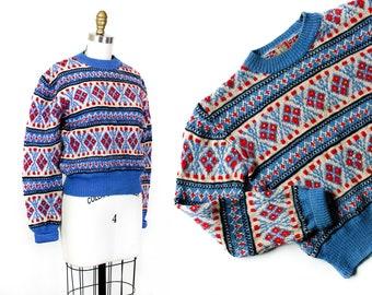 1940s knit sweater // Alpine Sky vintage 1940s Austrian ski sweater with shoulder zipper Md