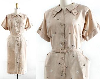 RESERVED . The Sketchbook . 1940s sketch print day dress  . md / lg