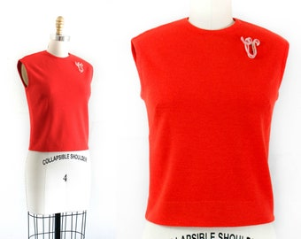 1960s sweater top // Cherry Tomato red vintage knit shell by Catalina
