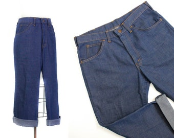 "1970s denim // True Blue vintage Sears cropped 60s / 70s jeans mid rise 32"" waist"