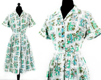 1960s novelty print dress // Lucky Number vintage 1950s / 60s number print shirtwaist dress .  lg / xl