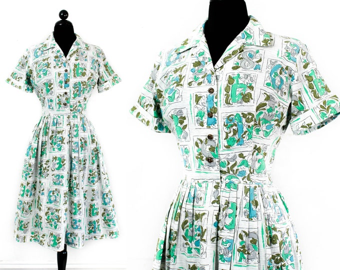 Featured listing image: Vintage novelty print dress // Lucky Number 1950s / 60s number print shirtwaist dress .  lg / xl
