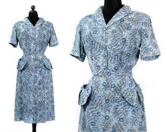 1940s blue dress // Shady Lady Fern leaf print vintage 40s silk dress . lg / xl