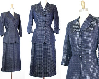 1940s suit // Blue Moon checkered damask vintage 1940s satin skirt suit . sm / small