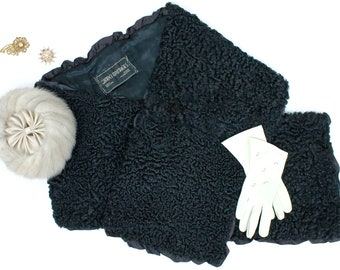 1950s black Persian lamb's wool stole by Gimbel Brothers