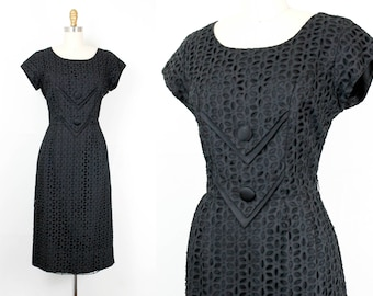 Vintage 1950s dress . A Wink and a Nod . 1950s black eyelet wiggle dress . 50s hourglass dress . md