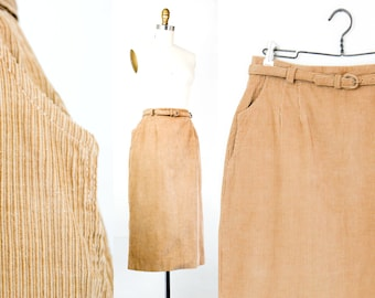 Cafe au Lait . 1950s light brown corduroy skirt with pockets . md