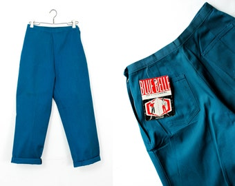 "Vintage 1960s pants . Blue Belle . 60s cropped pants . blue ankle paints . new old stock . 26"" waist"