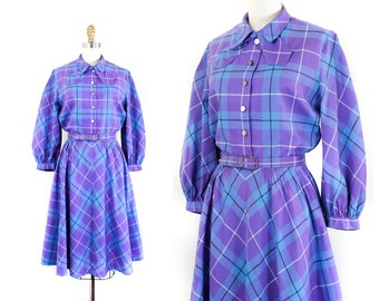 1950s plaid dress // French Lavender vintage plaid 50s shirtwaist dress by McKettrick md / lg