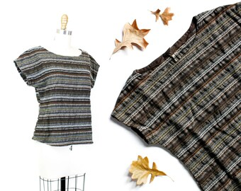1960s striped top //  Cottage Cafe vintage bohemian 1960s / 70s woven wool shirt md