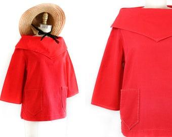 1960s nautical top // Rockaway Beach vintage 50s / 60s red sailcloth top // vintage sailor shirt . md