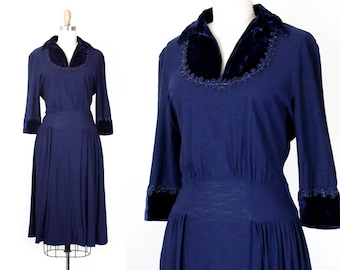 1940s dress // Lasso the Moon vintage navy blue rayon wool 40s dress with velvet cuffs and collar md / lg